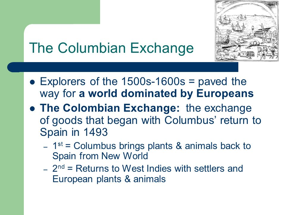 effects the columbian exchange Columbian exchange i can statements i can describe the positive and negative effects of the columbian exchange i can identify items that were exchanged between the old world and new world.