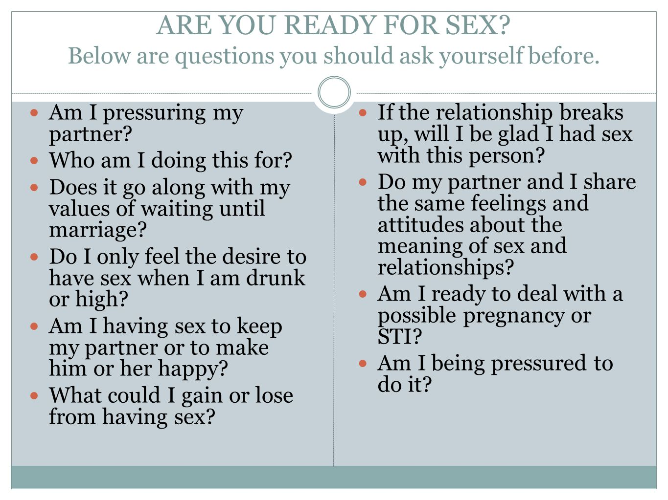 What To Do Before Having Sex
