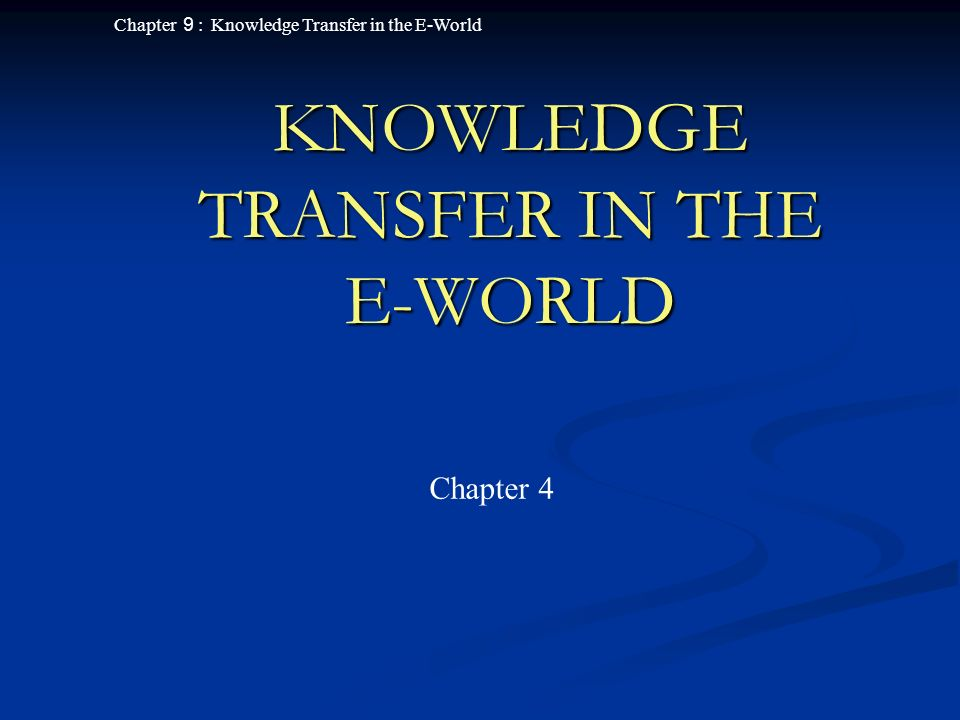 Chapter 9 : Knowledge Transfer in the E-World 12 Groupware Applications (cont ' d) Newsgroups and work- flow systems Newsgroups and work- flow systems Chat rooms Chat rooms Video communication Video communication Knowledge sharing groupware Knowledge sharing groupware Group calendaring and scheduling Group calendaring and scheduling