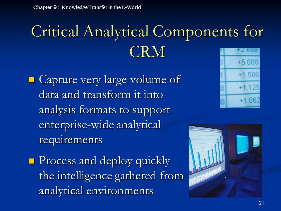 Chapter 9 : Knowledge Transfer in the E-World 21 Critical Analytical Components for CRM Capture very large volume of data and transform it into analysis formats to support enterprise-wide analytical requirements Capture very large volume of data and transform it into analysis formats to support enterprise-wide analytical requirements Process and deploy quickly the intelligence gathered from analytical environments Process and deploy quickly the intelligence gathered from analytical environments
