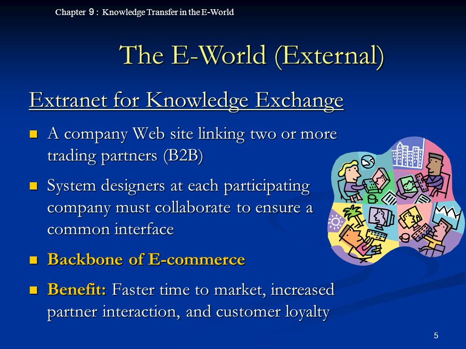 Chapter 9 : Knowledge Transfer in the E-World 5 Extranet for Knowledge Exchange A company Web site linking two or more trading partners (B2B) A company Web site linking two or more trading partners (B2B) System designers at each participating company must collaborate to ensure a common interface System designers at each participating company must collaborate to ensure a common interface Backbone of E-commerce Backbone of E-commerce Benefit: Faster time to market, increased partner interaction, and customer loyalty Benefit: Faster time to market, increased partner interaction, and customer loyalty The E-World (External)