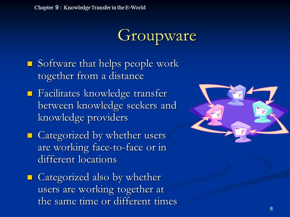 Chapter 9 : Knowledge Transfer in the E-World 8 Groupware Software that helps people work together from a distance Software that helps people work together from a distance Facilitates knowledge transfer between knowledge seekers and knowledge providers Facilitates knowledge transfer between knowledge seekers and knowledge providers Categorized by whether users are working face-to-face or in different locations Categorized by whether users are working face-to-face or in different locations Categorized also by whether users are working together at the same time or different times Categorized also by whether users are working together at the same time or different times