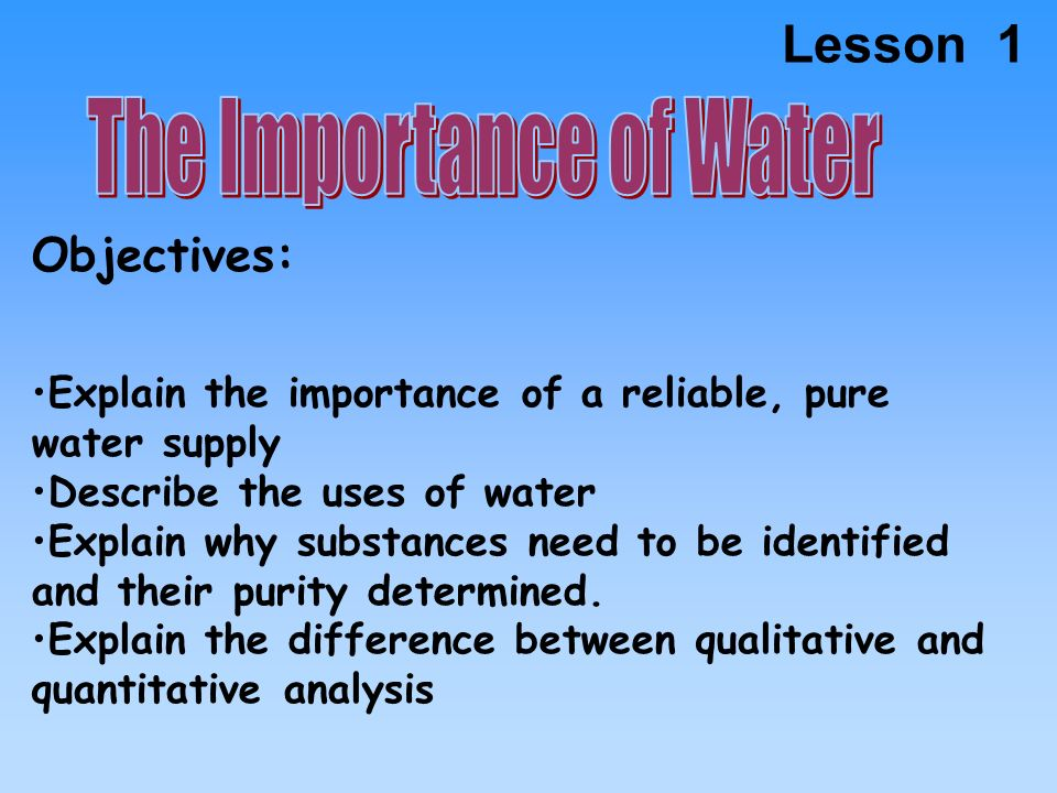 the objective and importance of water treatment Unlike most editing & proofreading services, we edit for everything: grammar, spelling, punctuation, idea flow, sentence structure, & more get started now.