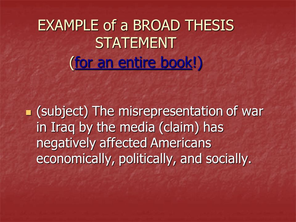 A thesis statement presents