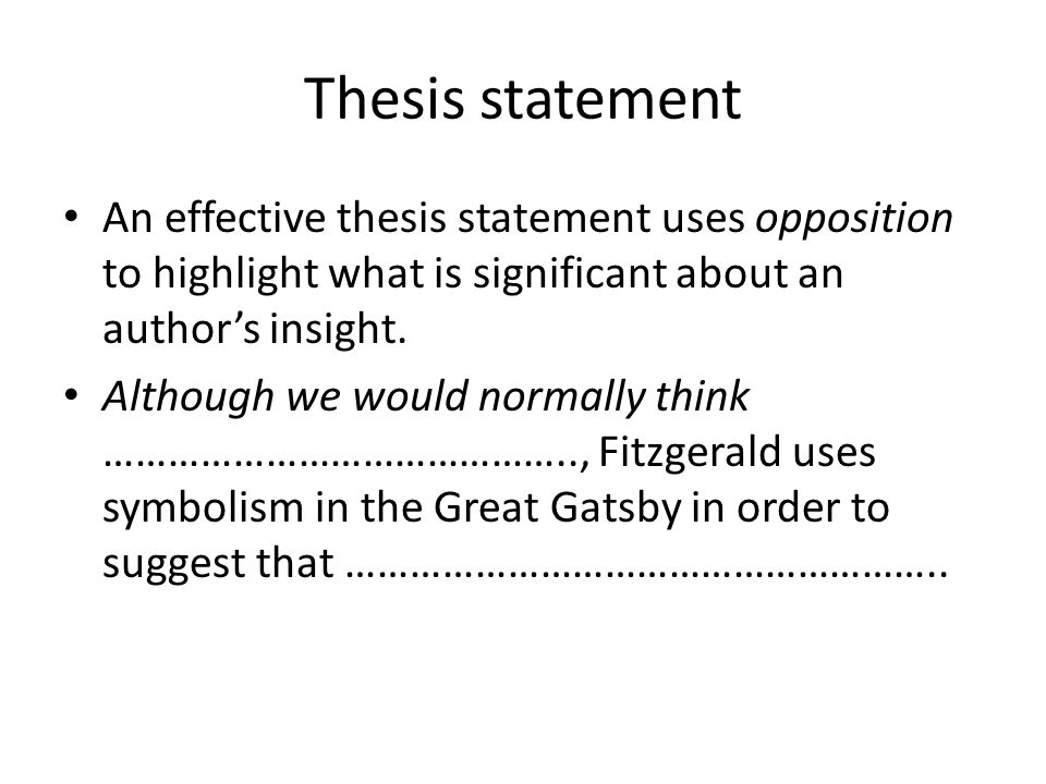 gatsby thesis statements