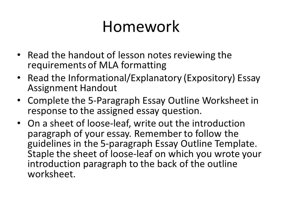 aim what is expository informative explanatory writing how is  homework the handout of lesson notes reviewing the requirements of mla formatting the informational