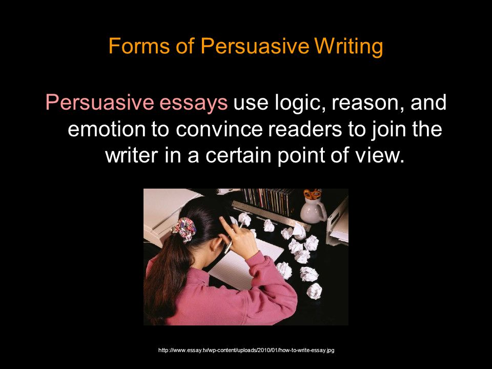 forms of persuasive writing The four forms of writing are classified by their purpose of the piece students generally start learning about the different forms of writing in or.