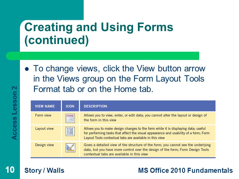 1 Access Lesson 2 Creating Queries, Forms, and Reports Microsoft ...