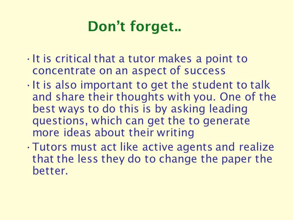 Minimalist tutoring research help?