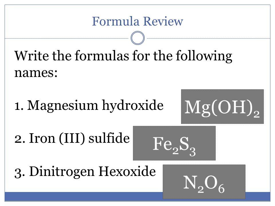 chemical formula review