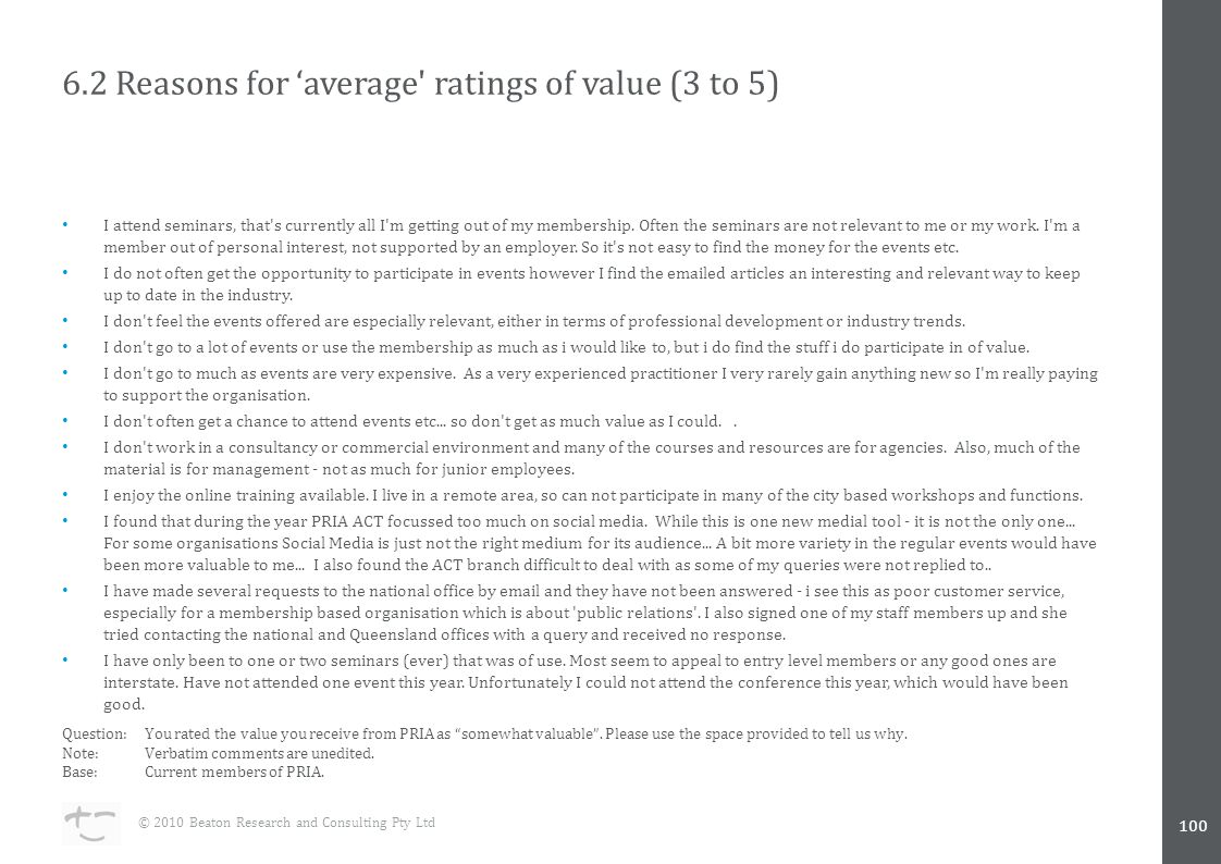 6.2 Reasons for 'average ratings of value (3 to 5) I attend seminars, that s currently all I m getting out of my membership.