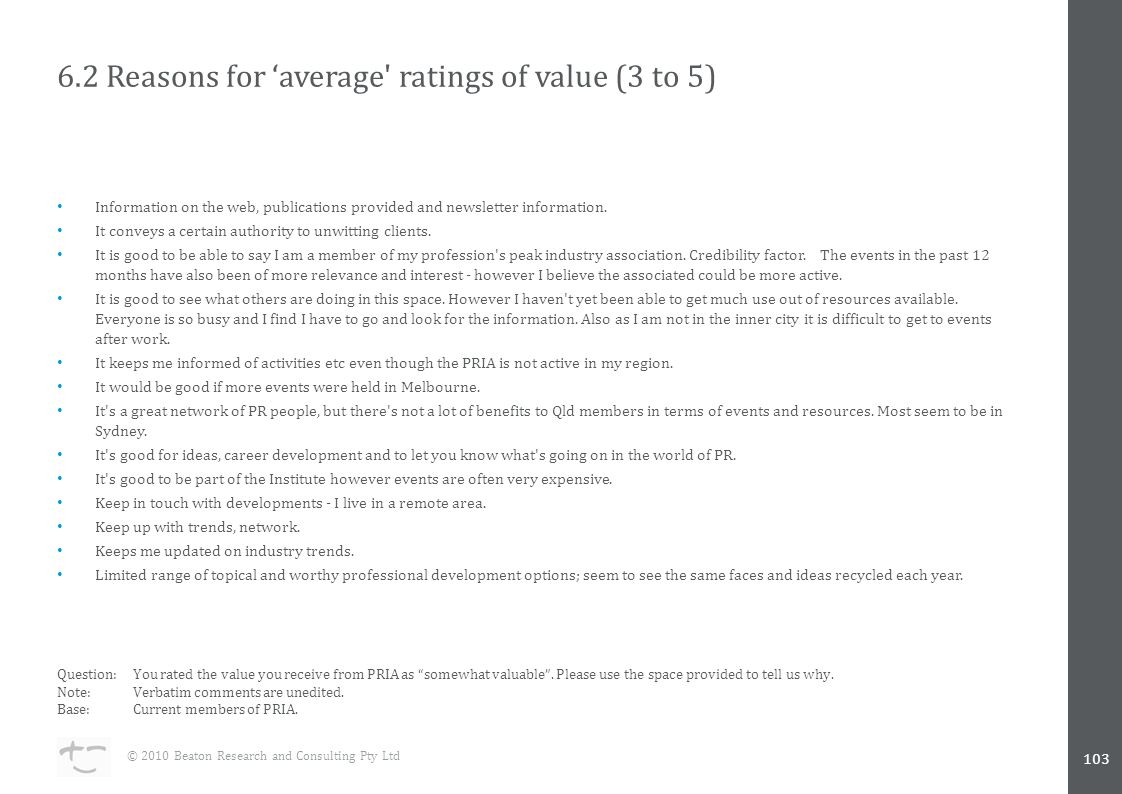 6.2 Reasons for 'average ratings of value (3 to 5) Information on the web, publications provided and newsletter information.