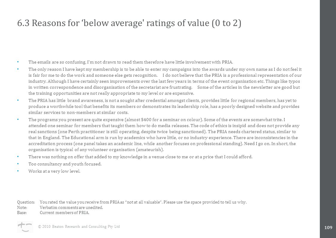 6.3 Reasons for 'below average ratings of value (0 to 2) The  s are so confusing, I m not drawn to read them therefore have little involvement with PRIA.