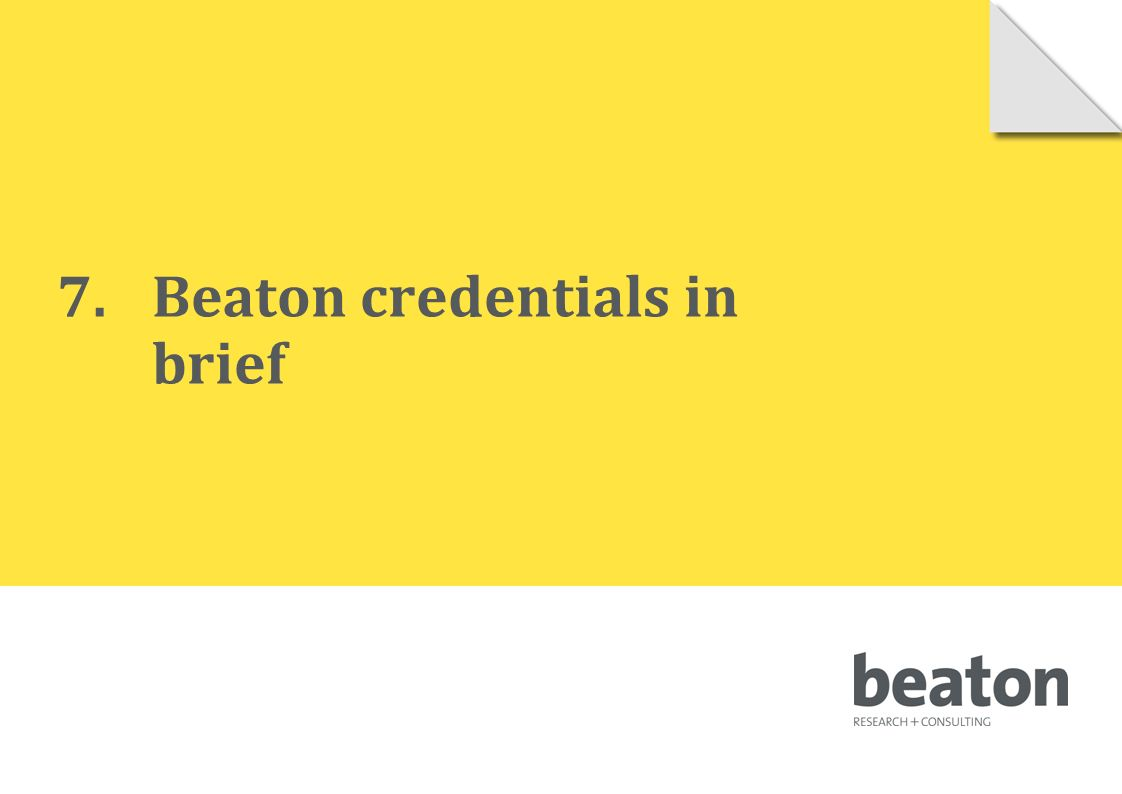 7.Beaton credentials in brief © 2010 Beaton Research and Consulting Pty Ltd 112