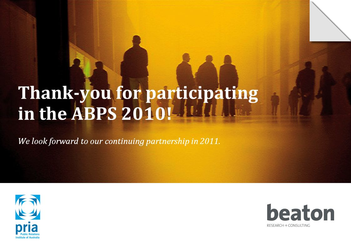 Thank-you for participating in the ABPS 2010.
