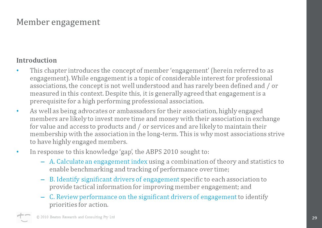 Member engagement Introduction This chapter introduces the concept of member 'engagement' (herein referred to as engagement).