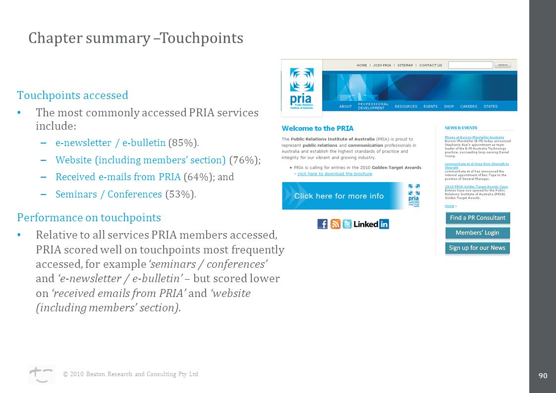 Touchpoints accessed The most commonly accessed PRIA services include: – e-newsletter / e-bulletin (85%).
