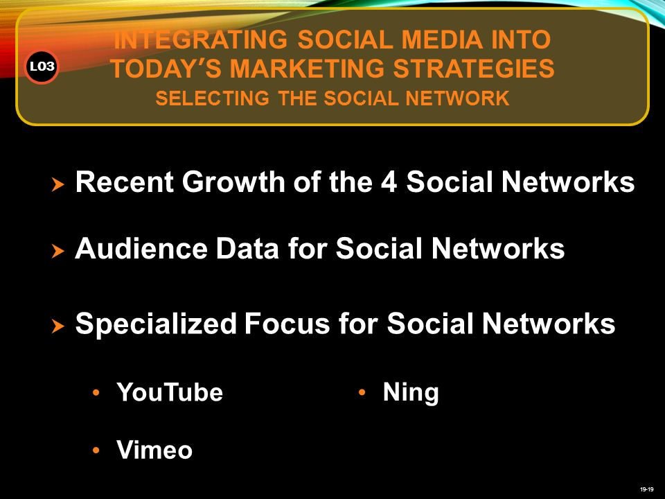 19-19 INTEGRATING SOCIAL MEDIA INTO TODAY'S MARKETING STRATEGIES SELECTING THE SOCIAL NETWORK LO3  Recent Growth of the 4 Social Networks  Audience Data for Social Networks  Specialized Focus for Social Networks YouTube Vimeo Ning