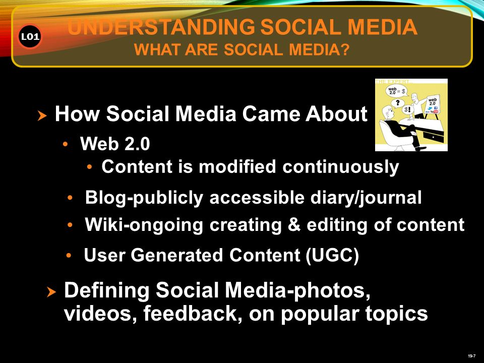 19-7  How Social Media Came About Web 2.0 Content is modified continuously Blog-publicly accessible diary/journal Wiki-ongoing creating & editing of content  Defining Social Media-photos, videos, feedback, on popular topics User Generated Content (UGC) UNDERSTANDING SOCIAL MEDIA WHAT ARE SOCIAL MEDIA.