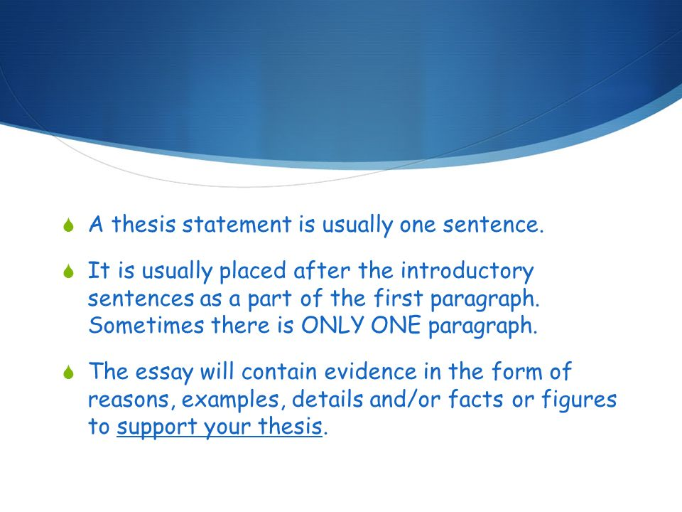 Thesis Statement For Process Essay