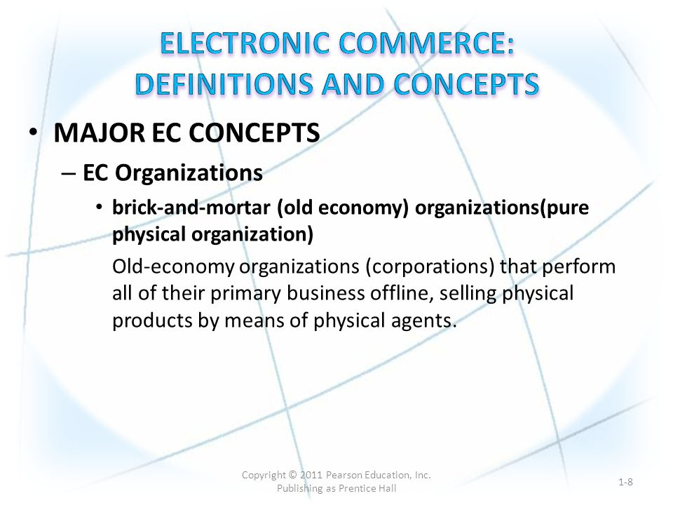 virtual (pure online) organizations (pure EC organization) Organizations that conduct their business activities only online.