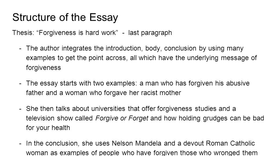 "essay analysis forgiveness anna lauren lia monica shelley  6 structure of the essay thesis ""forgiveness"