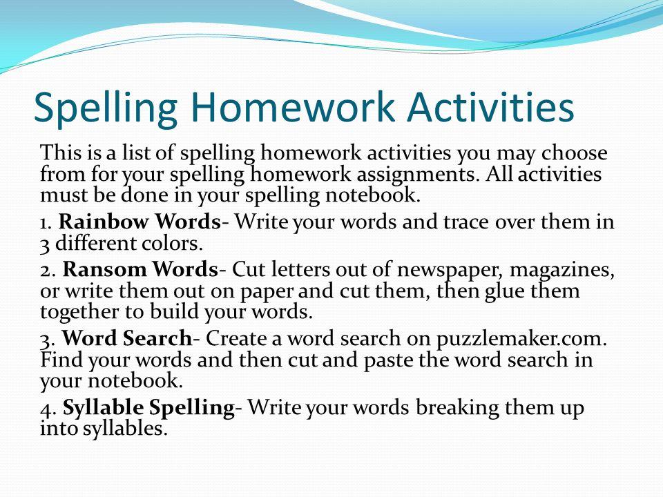 Homework spelling activities