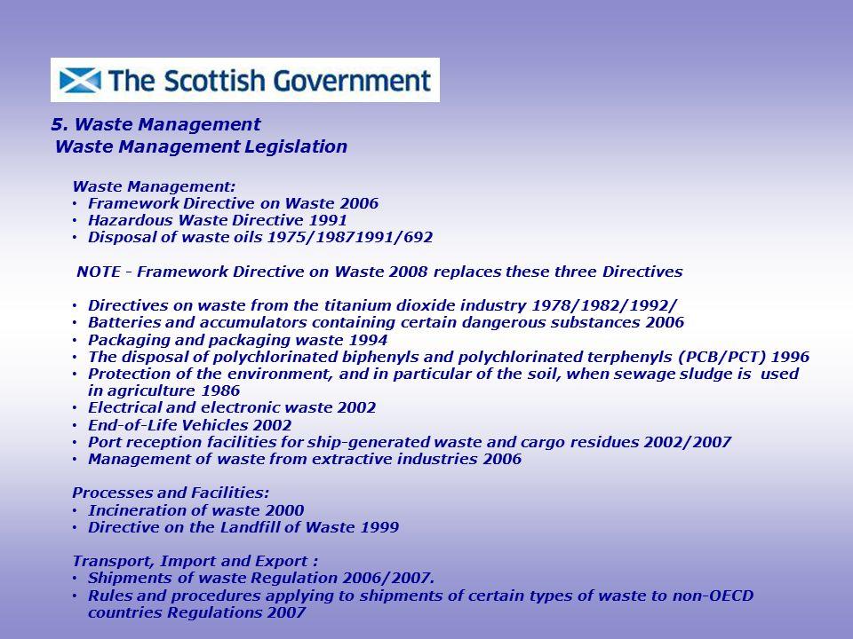 Waste Management Legislation 5.