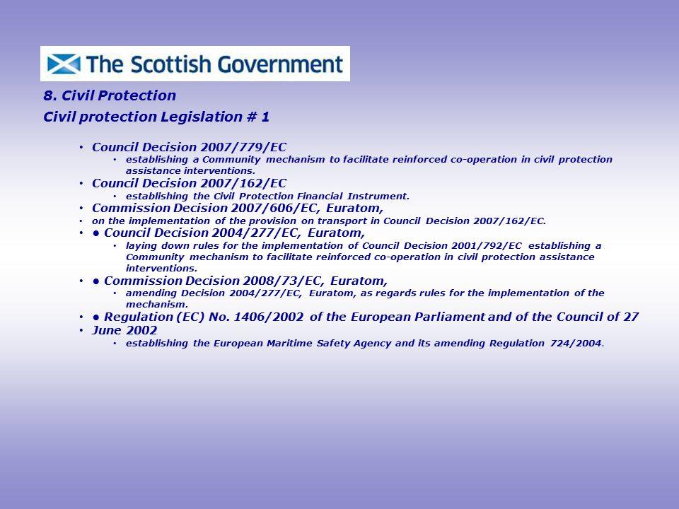 Civil protection Legislation # 1 8.