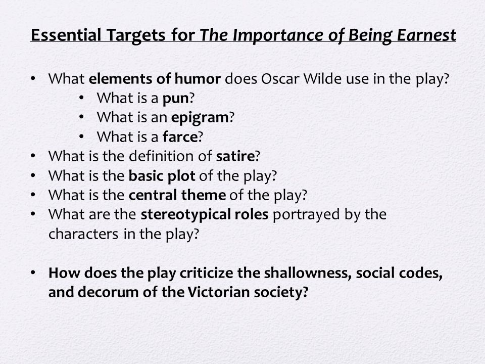the importance of being earnest stylistic analysis 'the importance of being earnest' is a comedic play written by oscar a woman of no importance: analysis & themes literary elements in the importance of being.