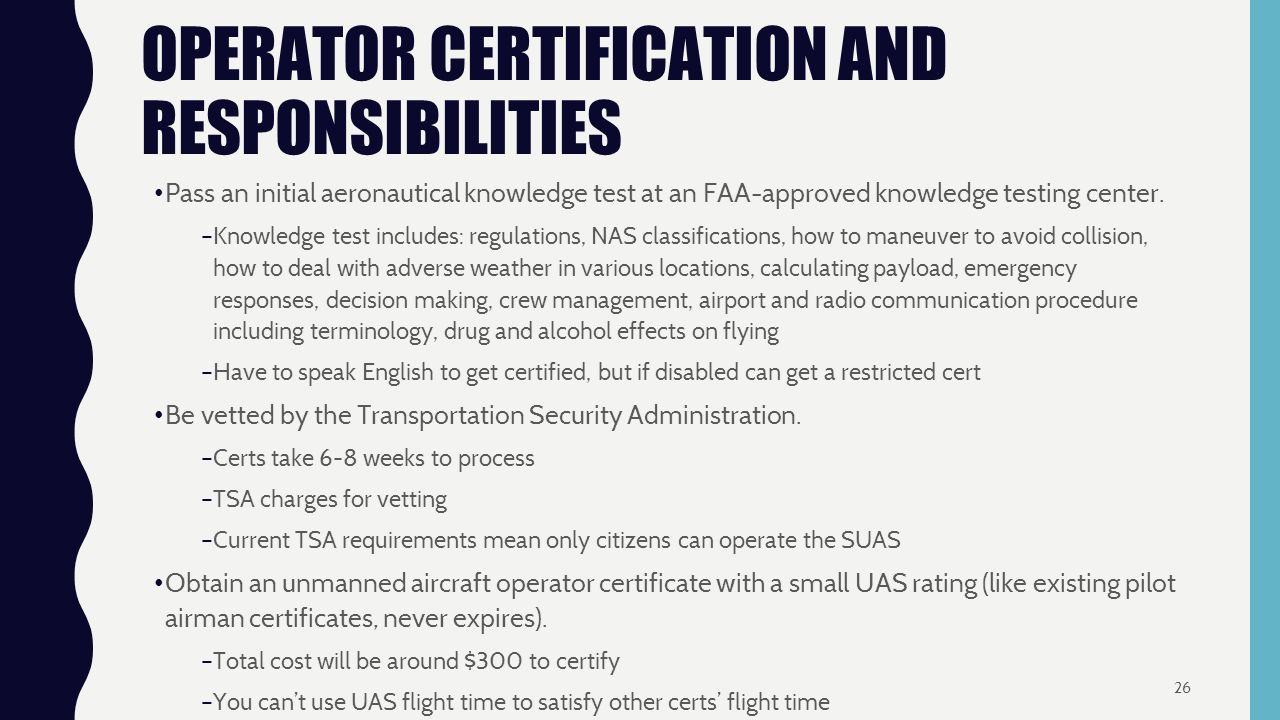 Team e standards and regulations dock in piece paul m calhoun operator certification and responsibilities pass an initial aeronautical knowledge test at an faa approved knowledge xflitez Images