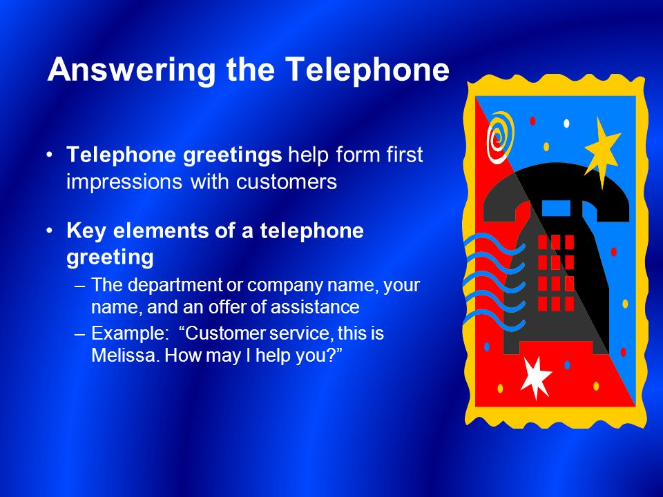 Ab221 customer service unit 6 tonights focus course operations answering the telephone telephone greetings help form first impressions with customers key elements of a telephone m4hsunfo