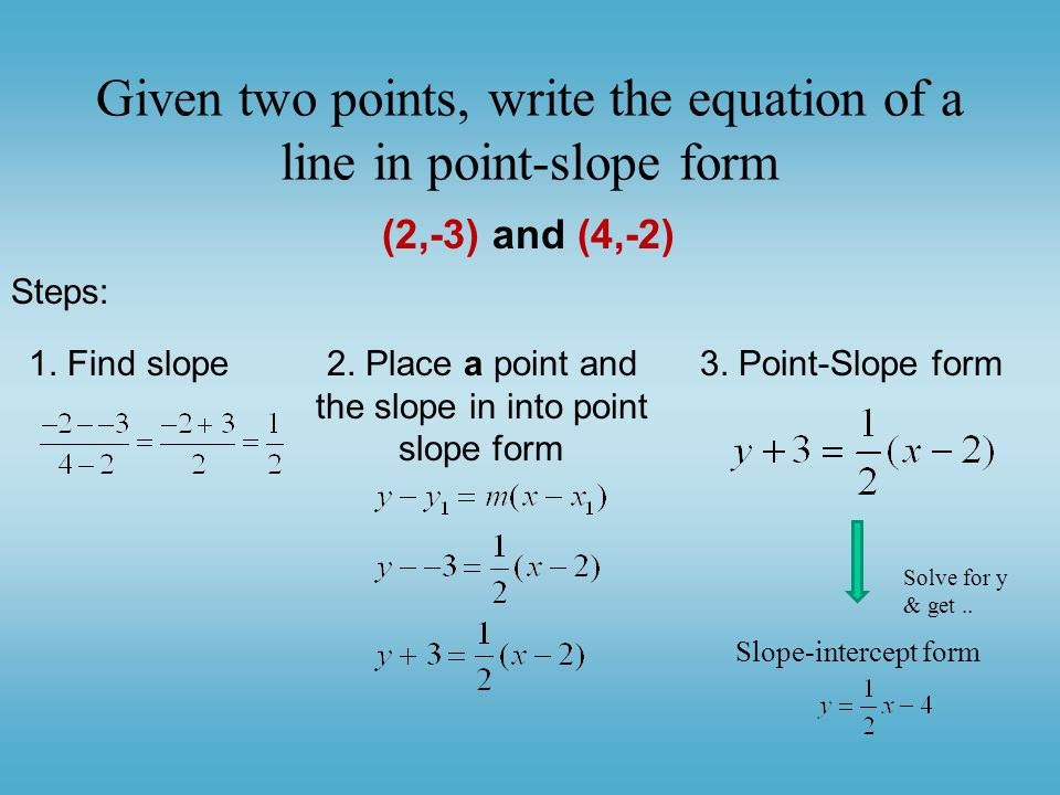 Slope Form Linear Equations in Two Variables. - ppt download