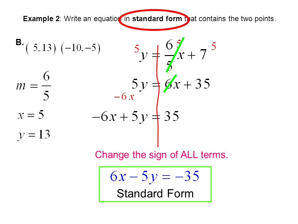 Writing Equations In Standard Form Given Two Points Homework Service