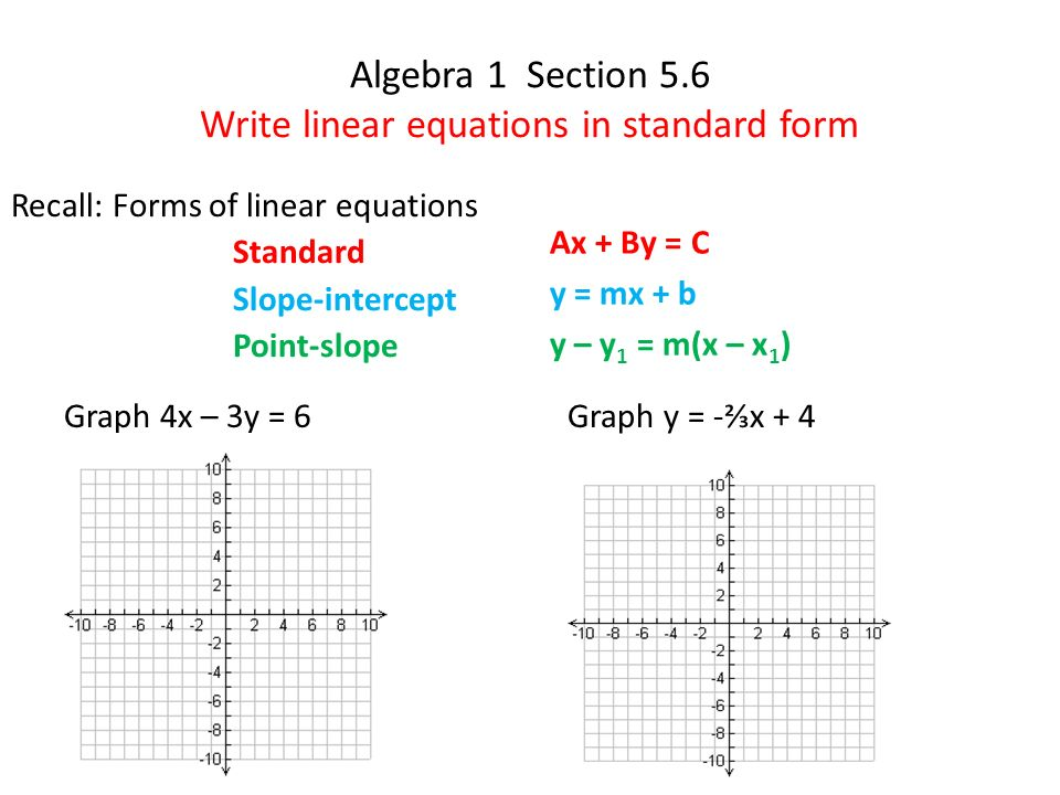 What Is Standard Form In Algebra 1 Divingexperience