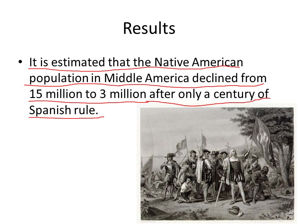 Results It is estimated that the Native American population in Middle America declined from 15 million to 3 million after only a century of Spanish rule.