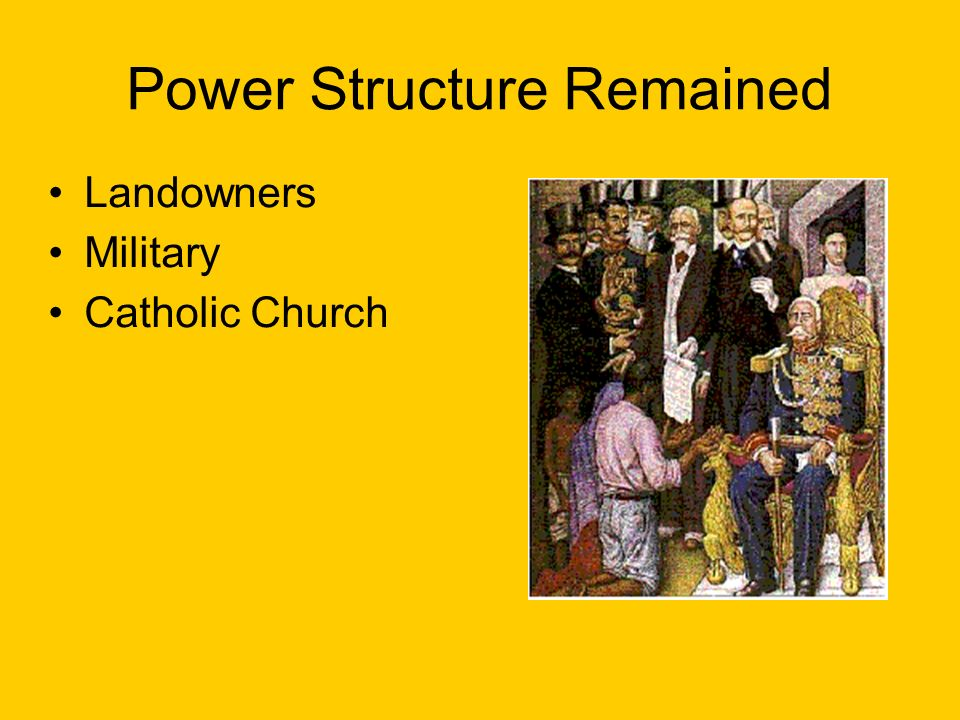 Power Structure Remained Landowners Military Catholic Church