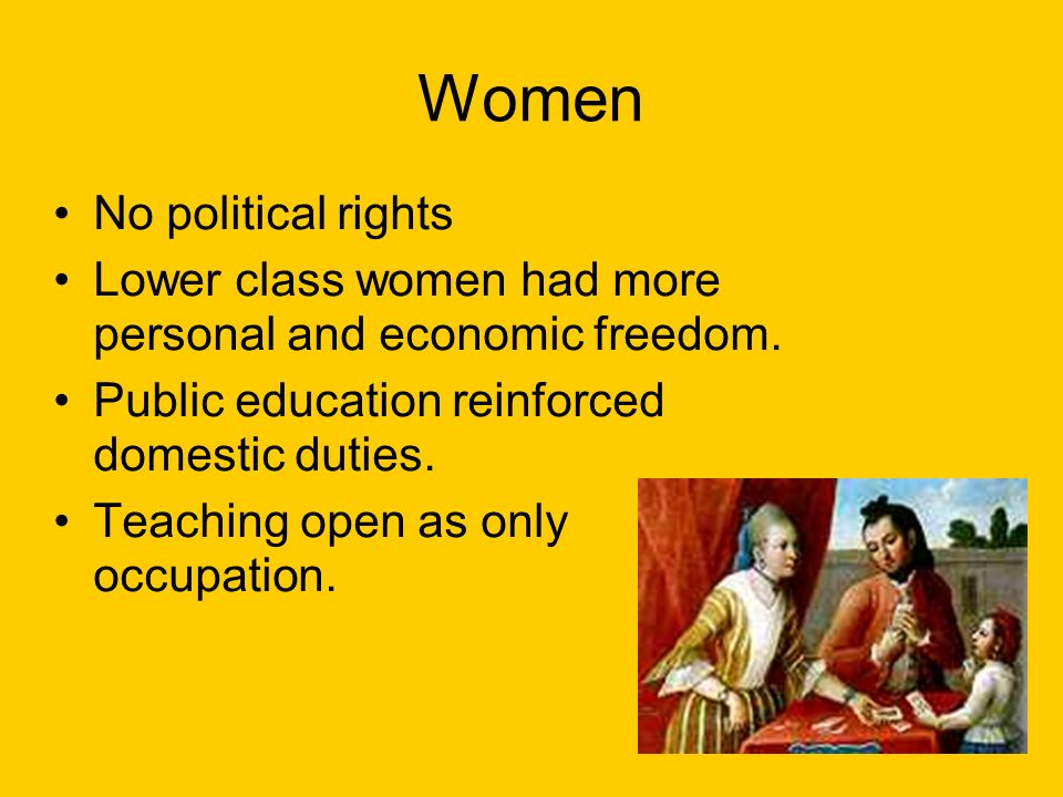 Women No political rights Lower class women had more personal and economic freedom.