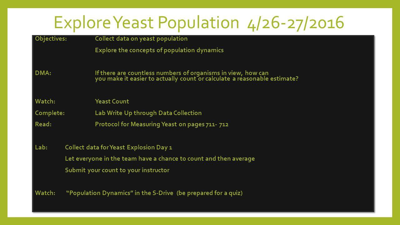 yeast population lab