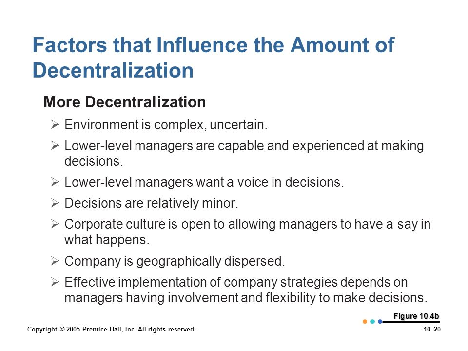 Copyright © 2005 Prentice Hall, Inc. All rights reserved.10–20 Figure 10.4b Factors that Influence the Amount of Decentralization More Decentralizatio