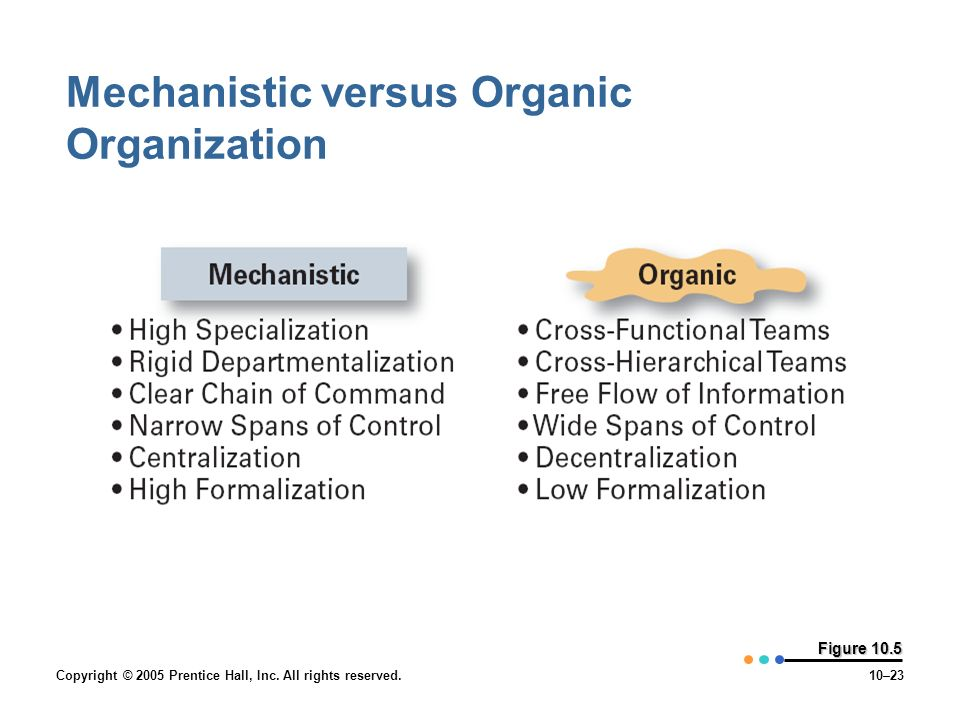 Copyright © 2005 Prentice Hall, Inc. All rights reserved.10–23 Figure 10.5 Mechanistic versus Organic Organization