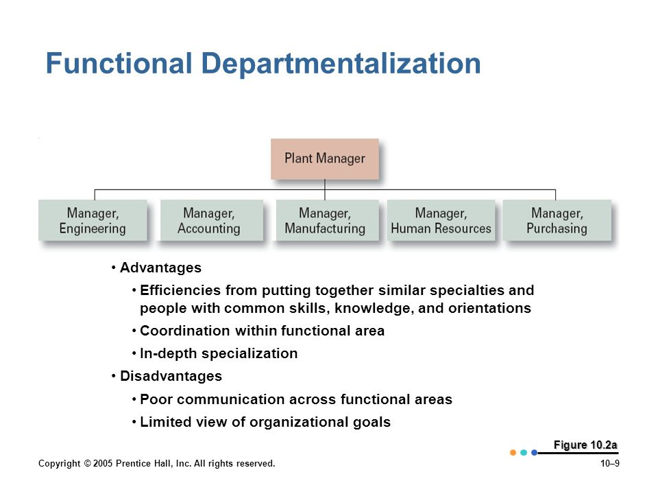 Copyright © 2005 Prentice Hall, Inc. All rights reserved.10–9 Figure 10.2a Functional Departmentalization Advantages Efficiencies from putting togethe