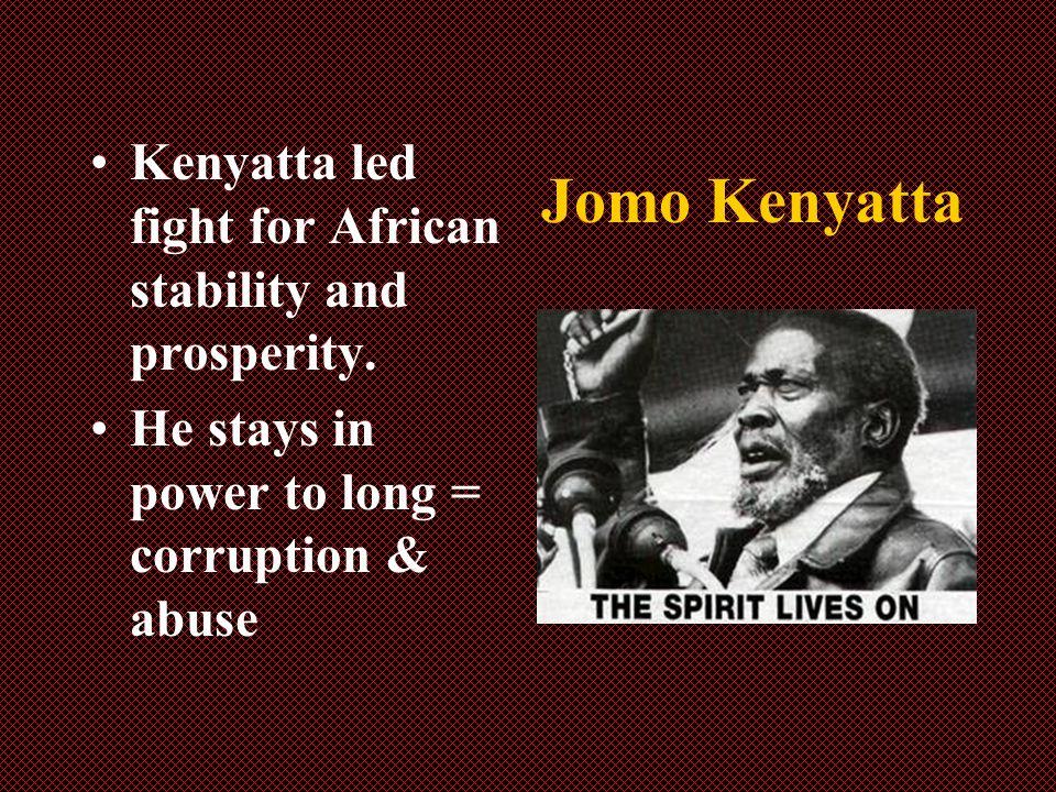 Jomo Kenyatta Kenyatta led fight for African stability and prosperity.