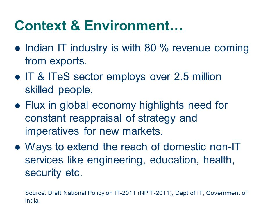 Context & Environment… Indian IT industry is with 80 % revenue coming from exports.