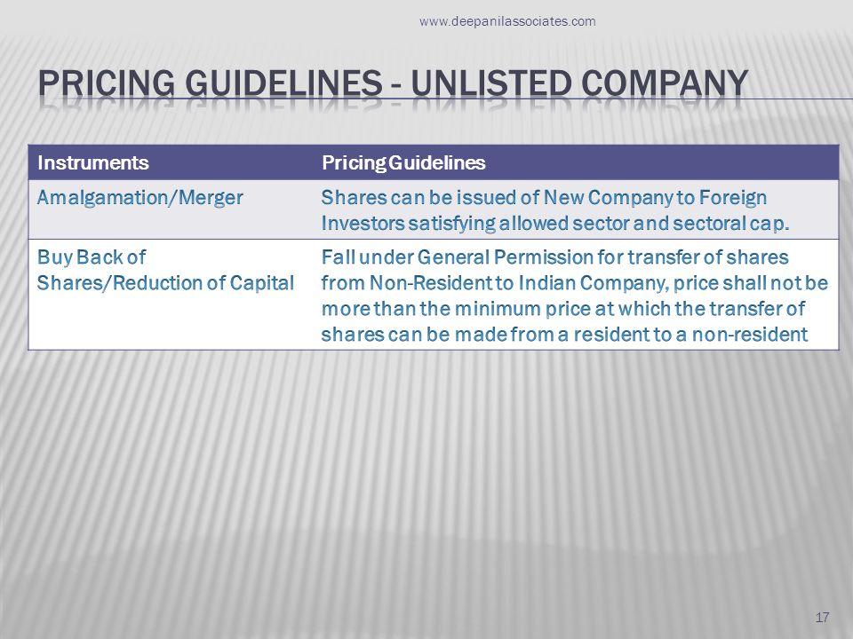InstrumentsPricing Guidelines www.deepanilassociates.com 17