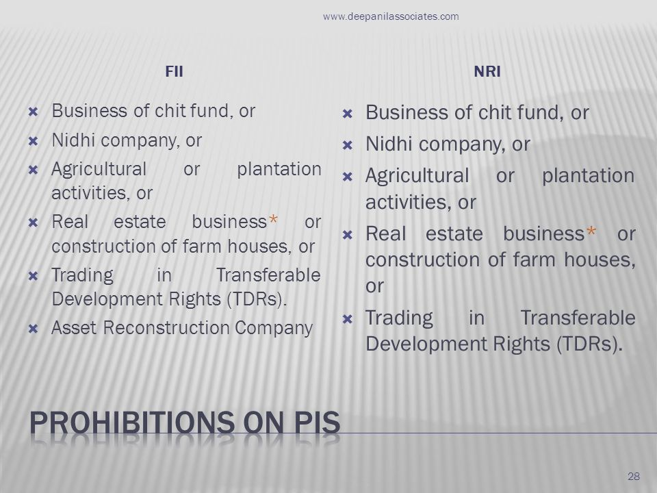FIINRI  Business of chit fund, or  Nidhi company, or  Agricultural or plantation activities, or  Real estate business* or construction of farm houses, or  Trading in Transferable Development Rights (TDRs).
