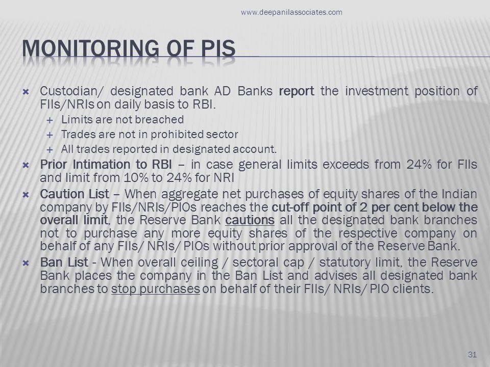  Custodian/ designated bank AD Banks report the investment position of FIIs/NRIs on daily basis to RBI.