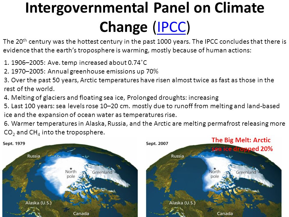 Intergovernmental Panel on Climate Change (IPCC)IPCC The 20 th century was the hottest century in the past 1000 years.