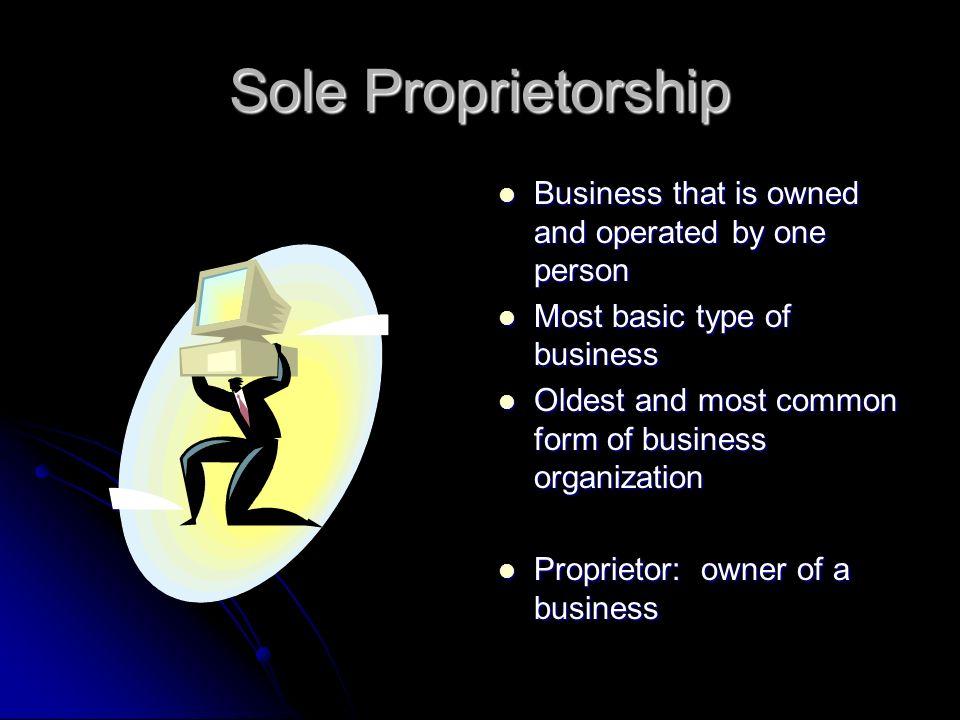 Types of Business Organization. Sole Proprietorship Business that ...