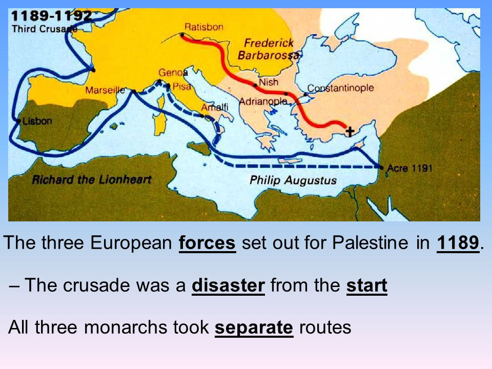 The three European forces set out for Palestine in 1189.